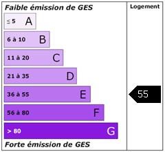 Emission de gaz à effet de serre : 55